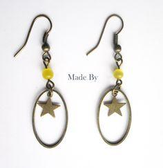Boucle d'oreille Etoile jaune Bronze : Boucles d'oreille par made-by