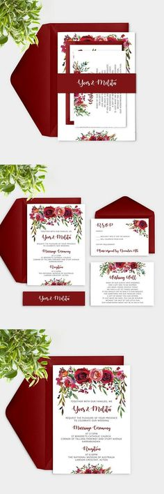 Maroon Wedding Invitations, Burgundy Wedding Invitation, Marsala Wedding Invitation, Watercolor Floral Wedding Invitation