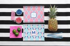 Preppy Pineapple Pattern Acrylic Lucite Tray-8.5x11 www.lauradrodesigns.com
