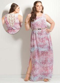 Vestido Longo Floral Rosa com Renda Plus Size - Posthaus