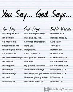You say...God says