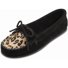 Minnetonka Women's Limited Edition Leopard Kilty Moc Style #: 349F | Stylish Moccasin Suede Upper Rubber Outsole | #TheShoeMart #CozyToes