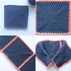 unusual granny crochet technique photo tutor instructions  knitpurlhook.com/2016/03/18/simple-granny-square-potholder/