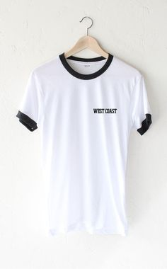 - Description Details: Unisex, loose fit short sleeve ringer tee in white with black contrast collar & sleeve bands and print 'West Coast' on front left chest. Brand: NYCT Clothing. Measurements: (Siz