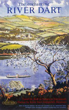 The Enchanting River Dart, Devon. BR Vintage Travel Poster by Cecil King. 1961
