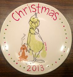 Grinch Footprint Plate | Paint Your Own Pottery | Paint Your Pot | Cary, North Carolina