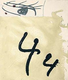 """Antoni Tàpies (geb. 1923 Barcelona) """"Aiguafort amb collage"""" Farbaquatintaradierung mit Carborundum und Collage 1989 66,5 x 57,2 cm"""