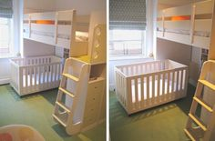Love the rolling crib that fits under the top bunk... someday to be replaced by a twin.