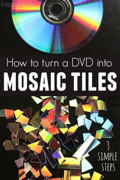 How to Make Mosaic Tiles (for crafting) from a DVD! SO easy, and the tiles are … How to Make Mosaic Tiles (for crafting) from a DVD! SO easy, and the tiles are great for all kinds of mosaic crafts! Upcycled Crafts, Old Cd Crafts, Recycled Cds, Fun Crafts, Adult Crafts, Crafts With Cds, Recycled Parol, Cd Case Crafts, Repurposed