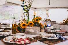 Great rustic themed table decor at this wedding at Alta Lakes Observatory in Colorado. @jmcdonaldphoto
