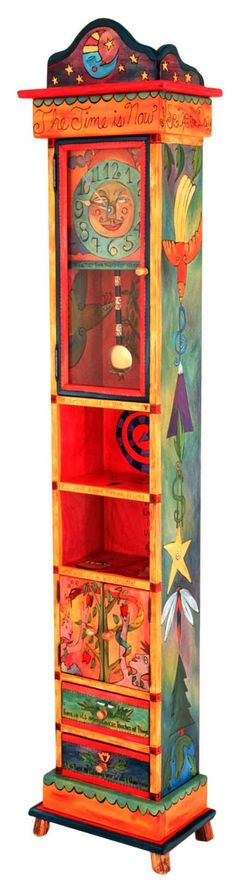 Sticks Grandfather Clocks Now this is my kind of grandfather clock! Very funky! Art Furniture, Sticks Furniture, Funky Painted Furniture, Painted Chairs, Colorful Furniture, Upcycled Furniture, Furniture Makeover, Painted Tables, Painted Wood