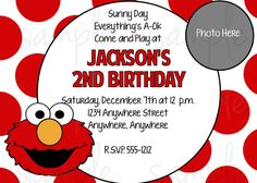 Check out this item in my Etsy shop https://www.etsy.com/listing/109624755/elmo-birthday-invitation