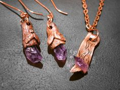 Raw amethyst and copper earrings and pendant by ElvenAdornments, $35.00