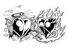 A tattoo design I did for my wife and I. It is a backpiece. Angel And Devil Tribal Hearts Tattoo Coloring Book, Skull Coloring Pages, Heart Coloring Pages, Coloring Books, Adult Coloring, Rose Drawing Tattoo, Angel Drawing, Tattoo Drawings, Sun Doodles