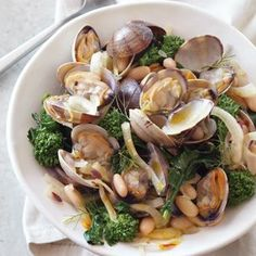 // clams, white beans, fennel, broccoli rabe.