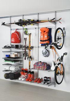 Smart storage idea for ski and bike equipment.