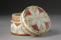 A Woodlands Native American Micmac Porcupine Quillworked Birch Bark Box and Cover from the Mid 19th C.