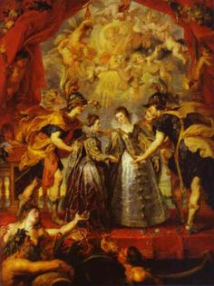 Peter Paul Rubens >> The Exchange of Princesses painting.   One of the Marie de' Medici cycle's painting. The Exchange of Princesses celebrates the double marriage of the Habsburg Infanta Anna of Spain to Louis XIII of France and Louis XIII's sister, Isabella Bourbon, to future king of Spain, Phillip IV on 9 November 1615.  http://en.wahooart.com/A55A04/w.nsf/OPRA/BRUE-5ZKDYM