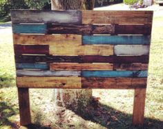 Multi-Colored Weathered Wooden Headboard made from Pallet Wood