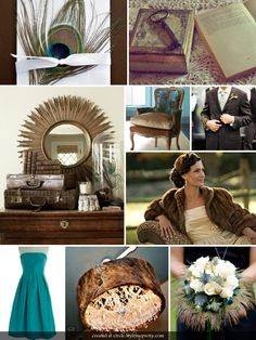 a little forties flair: i love the peacock blue color palette, and that fur coat is such a great touch!