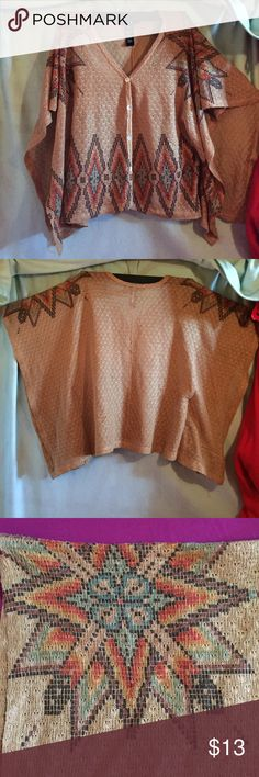 Forever 21 Aztec flyaway blouse❤️ This is a knit flyaway blouse with a pearlescent button down front✨ it is a beautiful design featuring the perfect colors to compliment the tan body❤️ I call it flyaway because the arms drape down to about the elbow and have a wide arm hole opening so there's peek a boo!  I paired it with a cute bralette, skinny jeans and sandals and wha-la! An amazing outfit! ❤️ near perfect condition only because I did wear it twice!✨ Forever 21 Tops Blouses