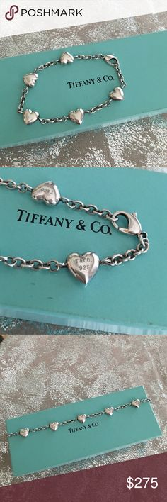 "Tiffany & Co. Hearts Bracelet Pretty sterling silver solid hearts bracelet by Tiffany & Co.  7 1/2"" long. Hard to find style. Each heart is marked T&CO 925. Tiffany & Co. Jewelry Bracelets"