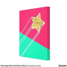 Shooting Faux Gold Star Retro Canvas Print