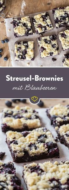 your crispy pleasure: crumble brownies with blueberries - Under a crispy crumble blanket – chocolate and blueberries are hidden there. -For your crispy pleasure: crumble brownies with blueberries - Under a crispy crumble blanket – chocolate and b. Brownie Recipes, Cupcake Recipes, Cookie Recipes, Dessert Recipes, Bread Recipes, Dinner Recipes, Food Cakes, Cheese Cake Receita, Torte Au Chocolat
