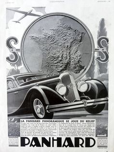 Panhard automobile vintage poster, old car advertising, French car ad, original art deco poster, old magazine ad, Panhard poster 1935