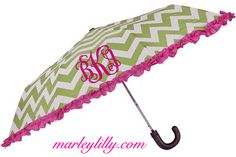 Monogrammed Green and Pink Chevron Umbrella