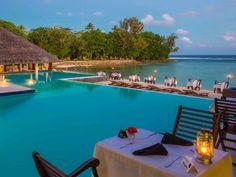Beautiful dining spot at Breakas Beach Resort, Vanuatu  www.islandescapes.com.au