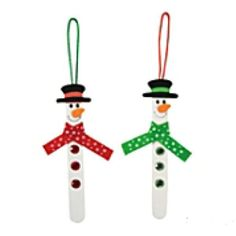 This Craft Stick Snowman Ornament Craft Kit is the perfect Christmas craft for kids! Your little elves will love building their very own ornaments to spice up your spruce your Christmas decorations! Christmas Ornament Crafts, Snowman Crafts, Snowman Ornaments, Christmas Crafts For Kids, Xmas Crafts, Kids Christmas, Snowmen, Simple Christmas, Christmas Stage