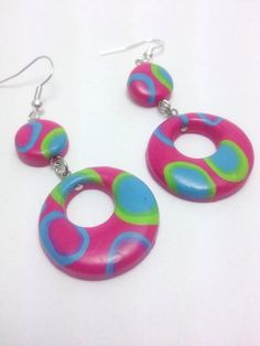 Round Polymer Clay Dangle Summer Earrings Bright by JosCreationsGR