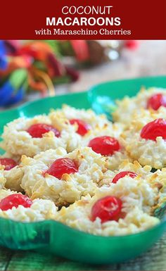 Coconut macaroons with colorful maraschino cherry centers make the perfect gift this holiday season. Soft and chewy, they're sure to be everyone's favorite treat! #coconut #coconutmacaroons #marashinocherries #bakedgoods #cookies