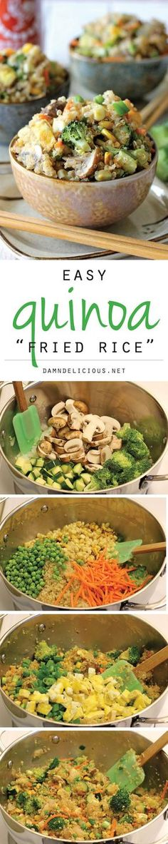 """Quinoa Veggie """"Fried Rice"""" - Quinoa is a wonderful substitute in this protein-packed, healthy veggie """"fried rice""""! #healthy"""