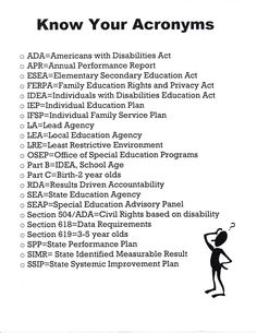 Know your Disability Law / Special Education Acronyms...