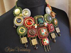 Bib necklace jewelry buttons leather crochet por AlisaSonya en Etsy