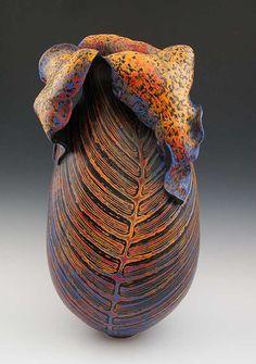 """Lead with your heart"" - Melanie Ferguson (hand built stoneware, coil construction, etched underglaze)"
