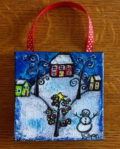 Title: Winter Fun  One 4 x 4 Canvas Ornament with ribbon  Ready to Hang  Card stock backing  Varnished for protection and shine  Staples on back,