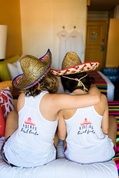 {Bachelorette Weekend: Arsena's Final Fiesta! | Simply Audree Kate} Fiesta themed bachelorette party with sombreros and matching tank tops