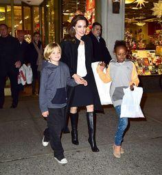 Angelina Jolie with daughters Shiloh & Zahara (2014)