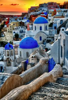 The small town of Oia in Santorini, Greece. It's a popular movie location, being used in The Sisterhood of the Travelling Pants, and Lara Croft Tomb Raider: The Cradle of Life.