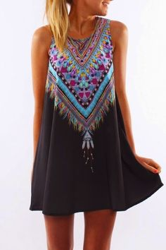 2017 summer dress women robe loose casual o-neck mini ropa mujer roupas vestidos robe femme vetement femme hippie beach dresses Fashion Casual, Ethnic Fashion, Look Fashion, Dress Fashion, Fashion Women, Bohemian Fashion, Beach Fashion, Plaid Fashion, Fashion Clothes