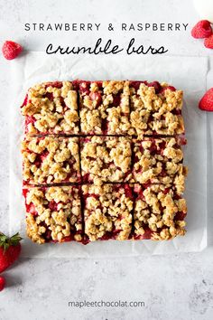 These delicious bars consist of fresh strawberries and raspberries sandwiched between an oat crust and a generous crumble layer! These crumble bars are healthy, refined sugar free and dairy free. Truly an amazing and refreshing summer treat! #crumblebars #strawberrybars #raspberrybars #healthy #summerdessert #dessert #easy #fresh #vegan #dairyfree