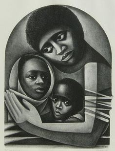 by Elizabeth Catlett. I painted my own 'Madonna' or 'Mother and Child' after studying this piece.
