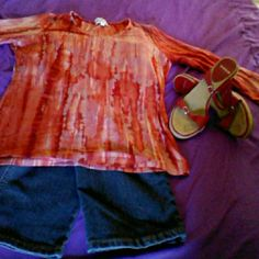 Great fitting tee, w/grt colors, dress up or down 3/4 sleeves, tie-dyed,cotton/spandex pic w jeans & heels (also listed for sale) Patchington Tops Tees - Short Sleeve