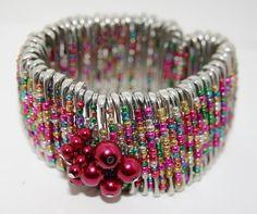 Candy colored safety pin stretch bracelet