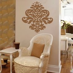 Items similar to Damask Fleur de lis Wall Decal x on Etsy Family Tree Decal, Tree Decals, Vinyl Wall Decals, Home Decor Accessories, Damask, Chair, Louisiana, House, Furniture