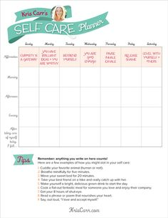 Plan ahead! A Self-Care Planner To Get You Through The Week (Infographic)