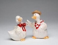 3.5 Inch White Duck Couple Ceramic Sa…
